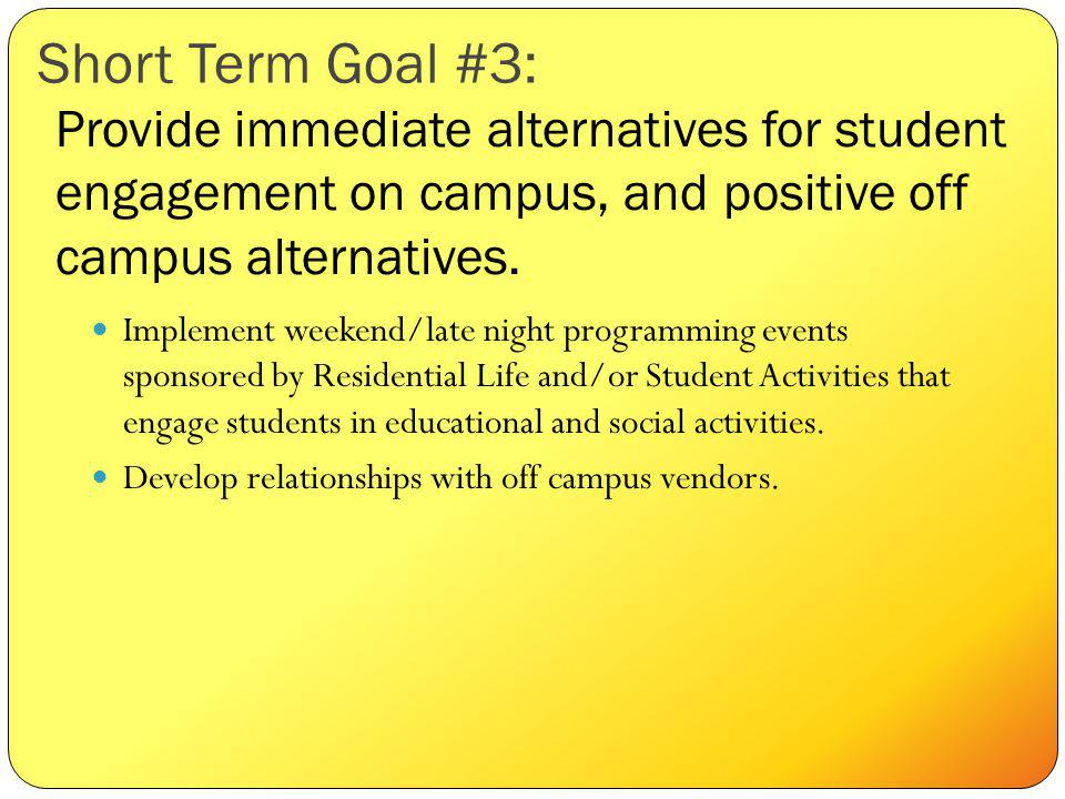 Short Term Goal #3: Implement weekend/late night programming events sponsored by Residential Life and/or Student Activities that engage students in educational and social activities.