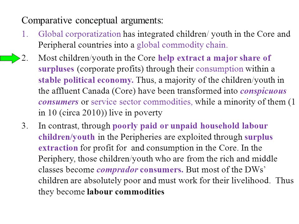 Comparative conceptual arguments: 1.Global corporatization has integrated children/ youth in the Core and Peripheral countries into a global commodity chain.