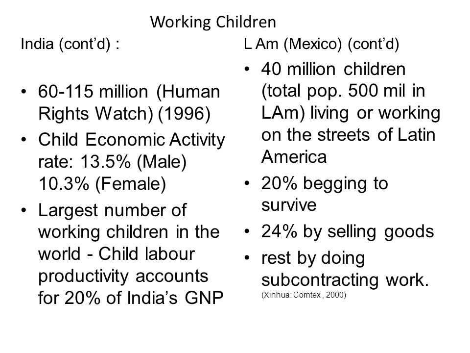India (contd) : 60-115 million (Human Rights Watch) (1996) Child Economic Activity rate: 13.5% (Male) 10.3% (Female) Largest number of working children in the world - Child labour productivity accounts for 20% of Indias GNP L Am (Mexico) (contd) 40 million children (total pop.
