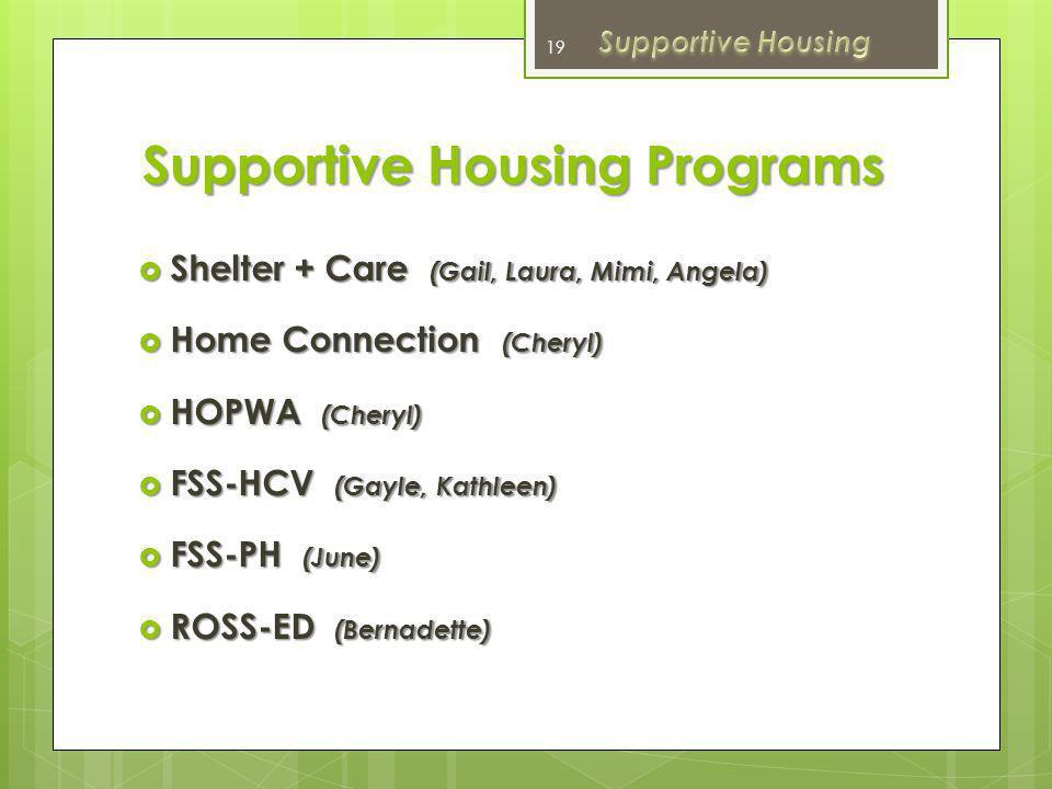 Supportive Housing Programs June Miyake Director of Supportive Housing Marin Housing Authority 18