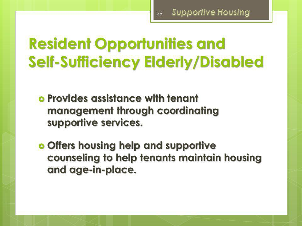 Family Self-Sufficiency Public Housing Case Management services for families in Marin City Public Housing.