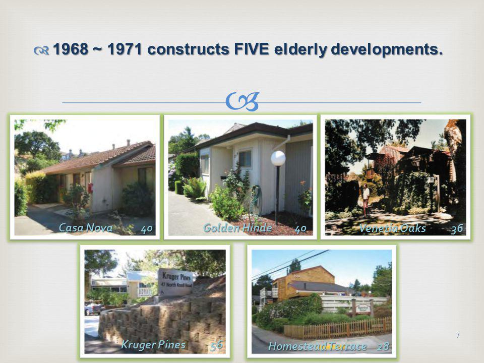 1960 Completes Marin City Family Public Housing 1960 Completes Marin City Family Public Housing 6 Golden Gate Village High-Rise 168 Golden Gate Village Low-Rise 132