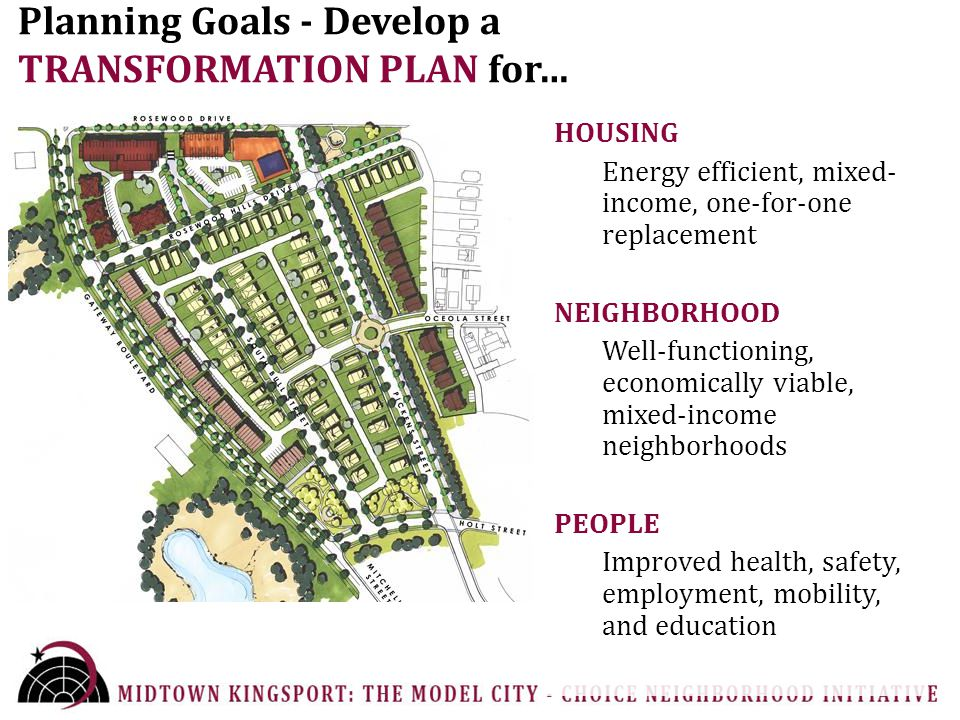 Planning Goals - Develop a TRANSFORMATION PLAN for… HOUSING Energy efficient, mixed- income, one-for-one replacement NEIGHBORHOOD Well-functioning, economically viable, mixed-income neighborhoods PEOPLE Improved health, safety, employment, mobility, and education