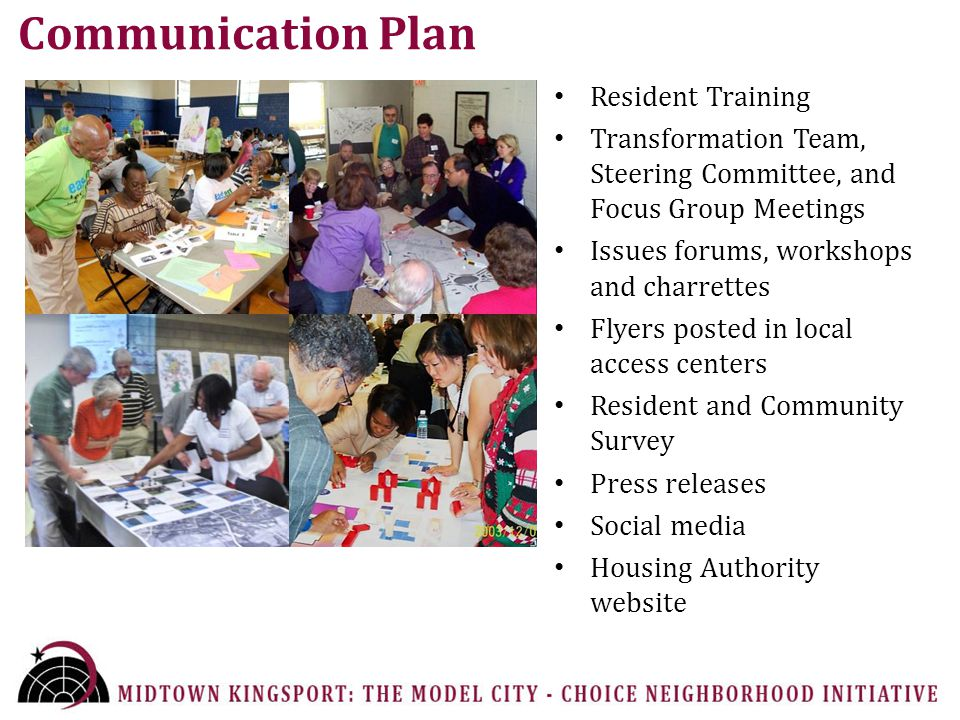 Communication Plan Resident Training Transformation Team, Steering Committee, and Focus Group Meetings Issues forums, workshops and charrettes Flyers posted in local access centers Resident and Community Survey Press releases Social media Housing Authority website