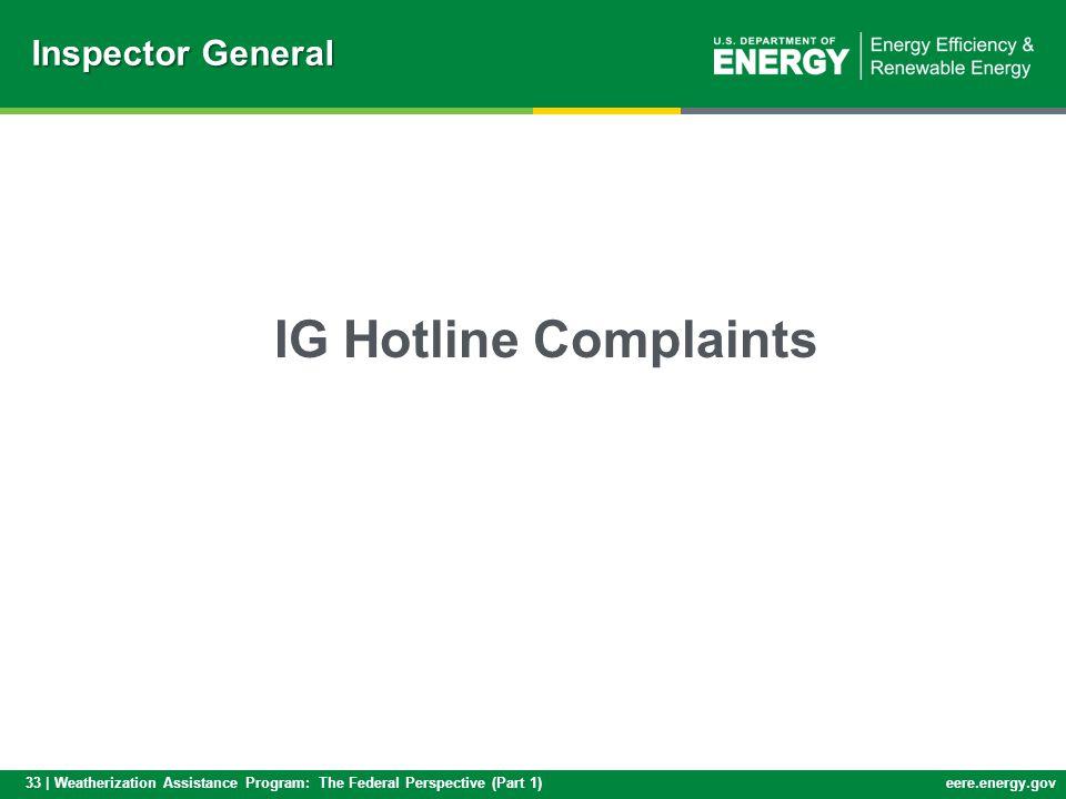33 | Weatherization Assistance Program: The Federal Perspective (Part 1)eere.energy.gov IG Hotline Complaints Inspector General