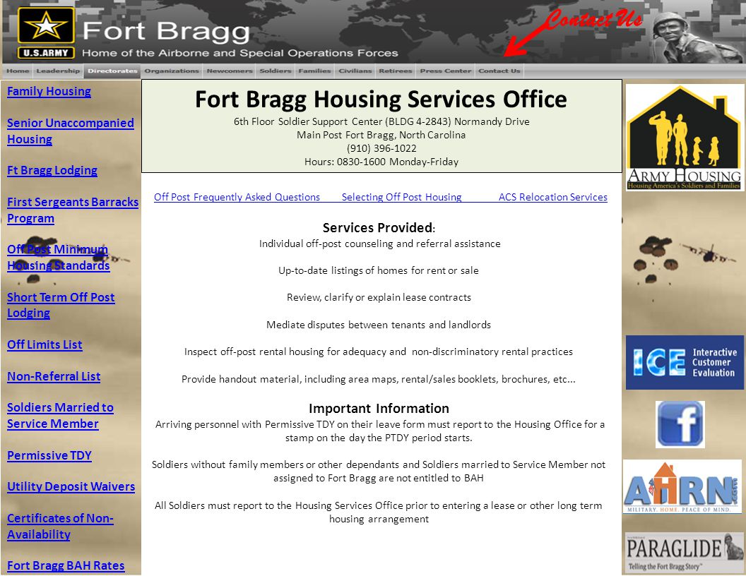 Family Housing Senior Unaccompanied Housing Ft Bragg Lodging First Sergeants Barracks Program Off Post Minimum Housing Standards Short Term Off Post L