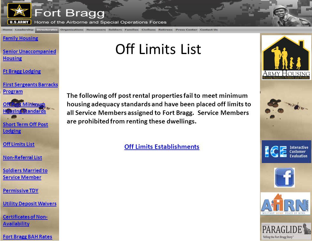 Off Limits List Family Housing Senior Unaccompanied Housing Ft Bragg Lodging First Sergeants Barracks Program Off Post Minimum Housing Standards Short