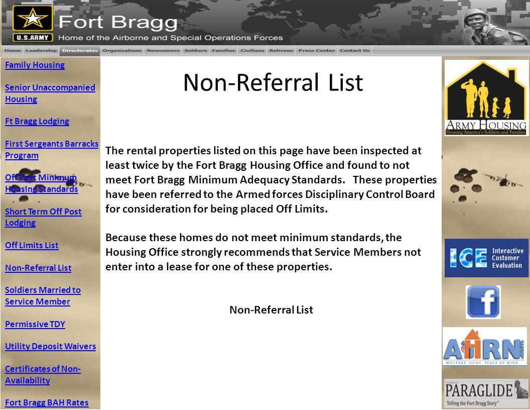 Non-Referral List Family Housing Senior Unaccompanied Housing Ft Bragg Lodging First Sergeants Barracks Program Off Post Minimum Housing Standards Sho
