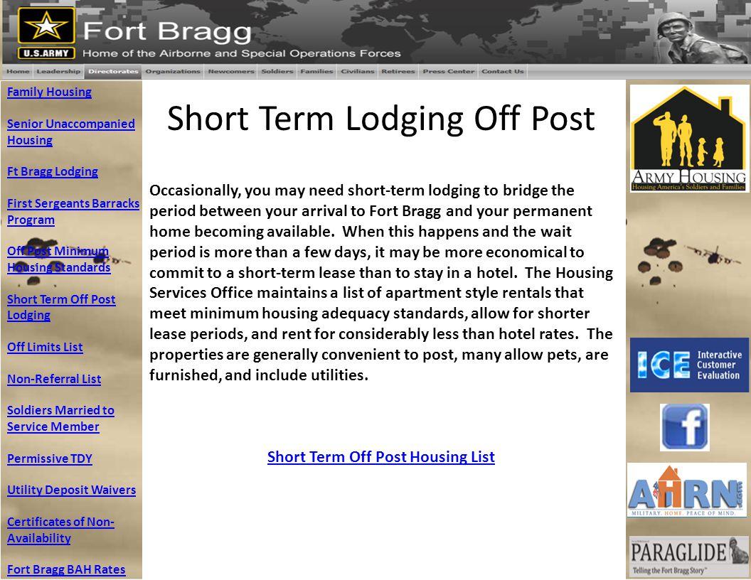 Short Term Lodging Off Post Family Housing Senior Unaccompanied Housing Ft Bragg Lodging First Sergeants Barracks Program Off Post Minimum Housing Sta