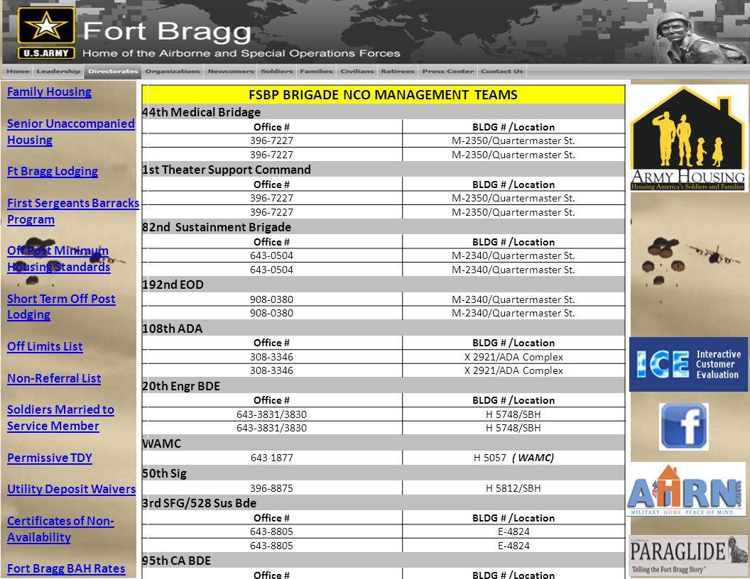 FSBP BRIGADE NCO MANAGEMENT TEAMS 44th Medical Bridage Office #BLDG # /Location 396-7227M-2350/Quartermaster St. 396-7227M-2350/Quartermaster St. 1st