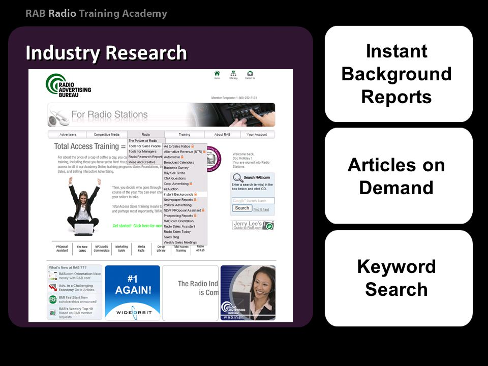 RAB Radio Training Academy Industry Research Consumer Marketing Instant Background Reports Articles on Demand Keyword Search
