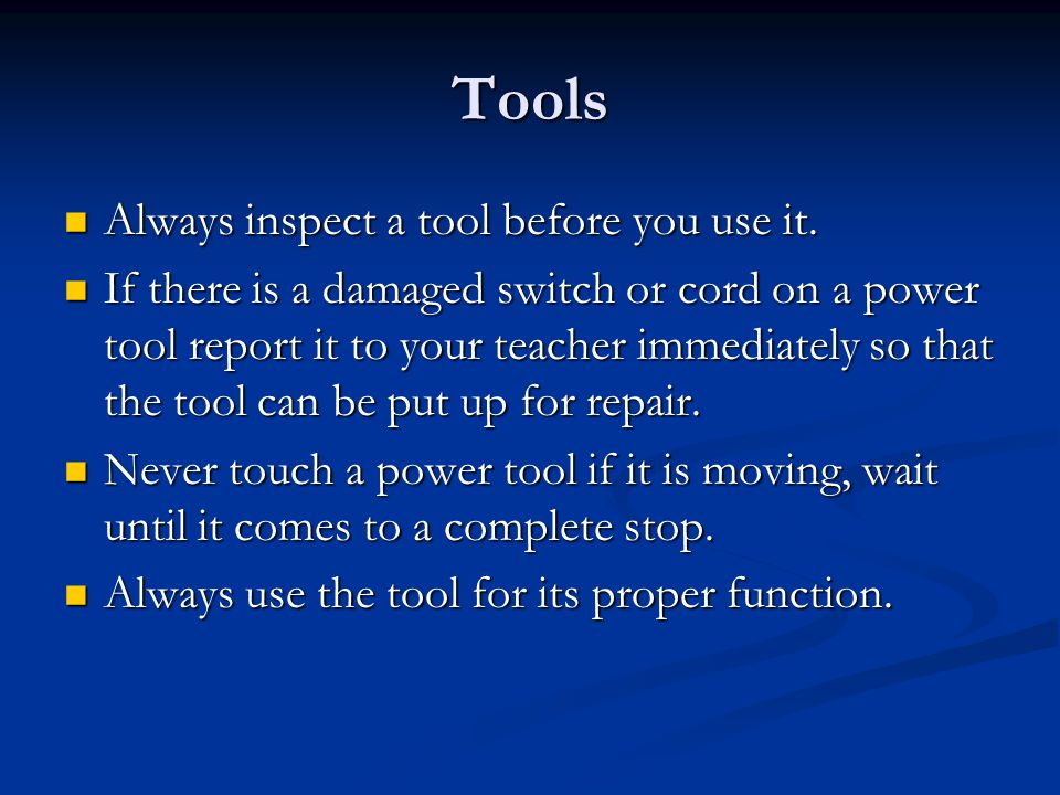 Tool/Machine Categories