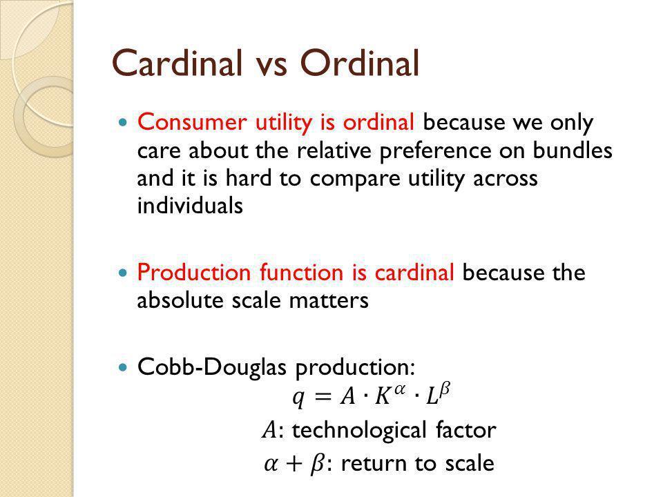 Cardinal vs Ordinal