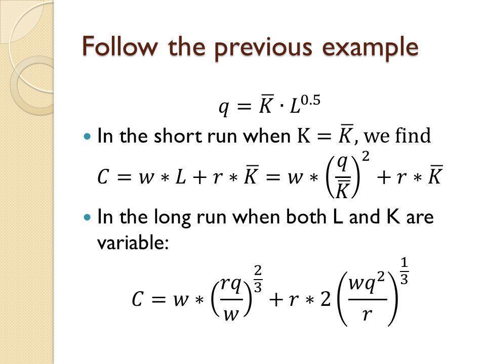 Follow the previous example