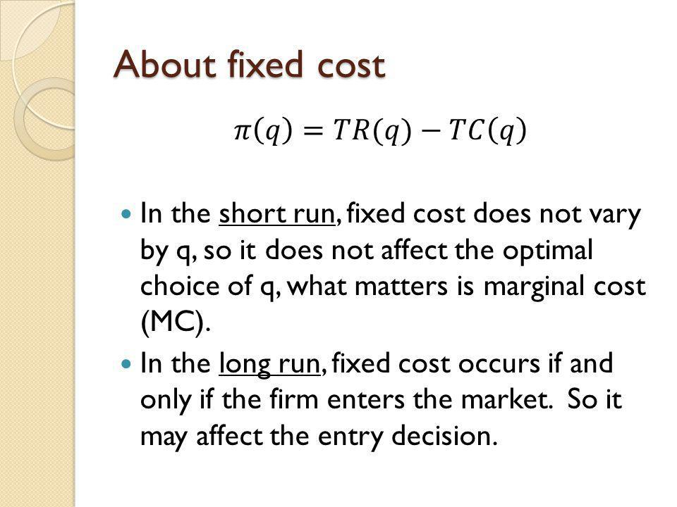 About fixed cost