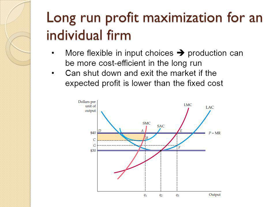 Long run profit maximization for an individual firm More flexible in input choices production can be more cost-efficient in the long run Can shut down