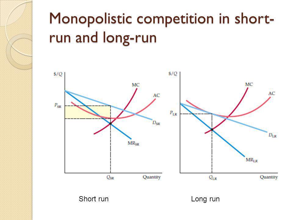 Monopolistic competition in short- run and long-run Short run Long run