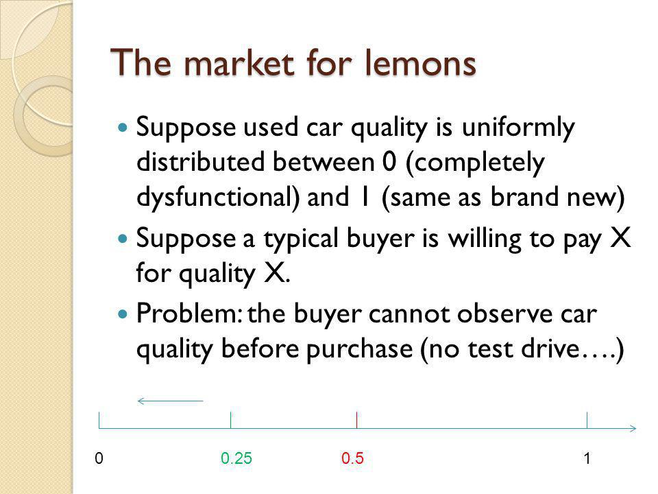 The market for lemons Suppose used car quality is uniformly distributed between 0 (completely dysfunctional) and 1 (same as brand new) Suppose a typic