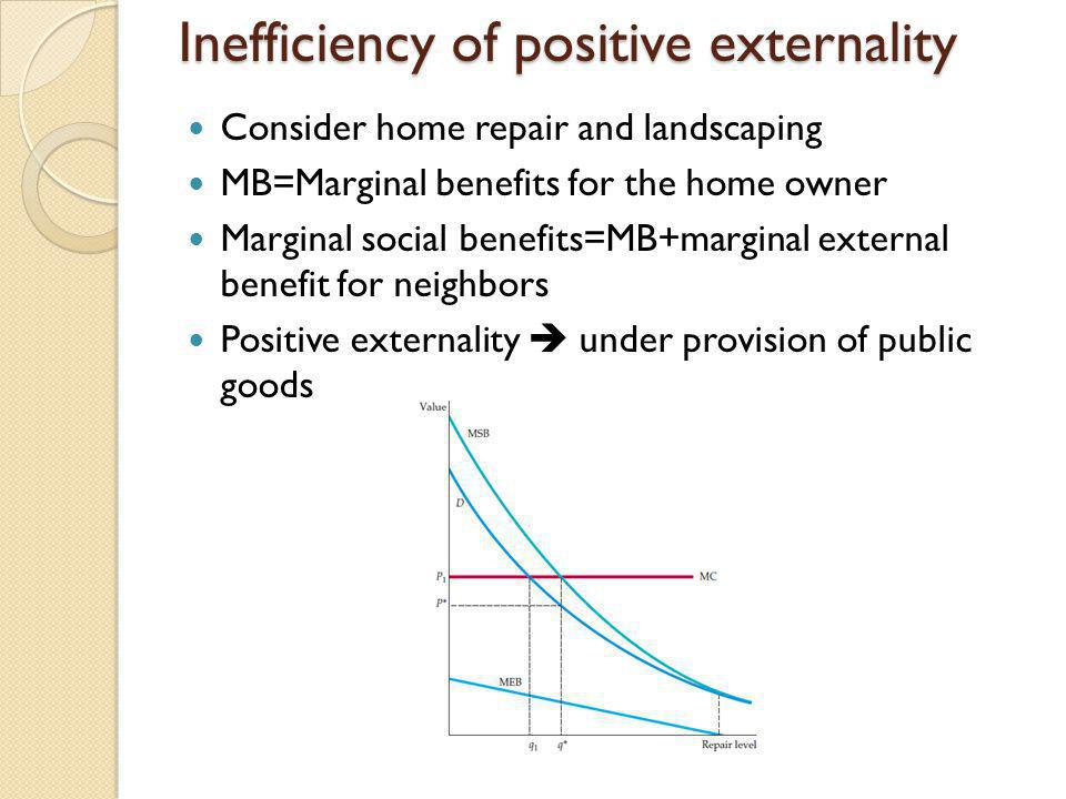 Inefficiency of positive externality Consider home repair and landscaping MB=Marginal benefits for the home owner Marginal social benefits=MB+marginal