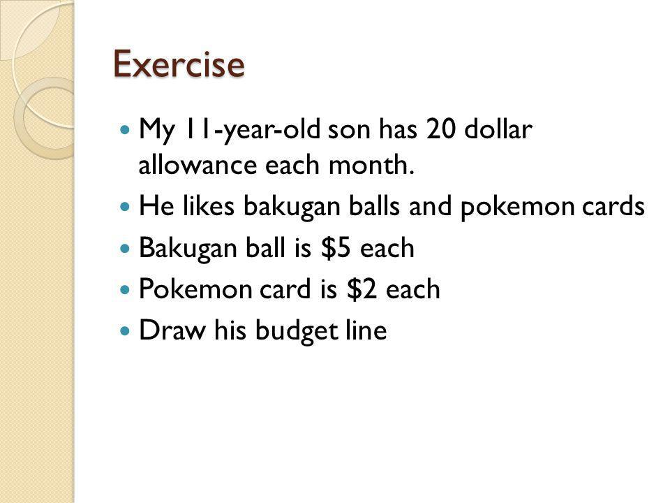 Exercise My 11-year-old son has 20 dollar allowance each month. He likes bakugan balls and pokemon cards Bakugan ball is $5 each Pokemon card is $2 ea