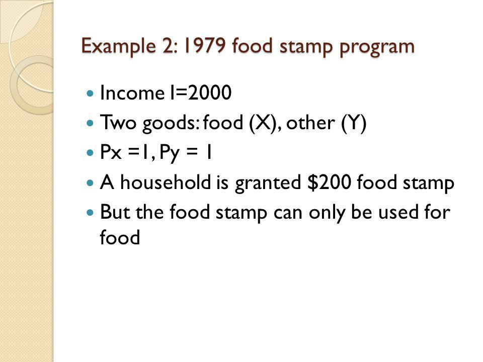 Example 2: 1979 food stamp program Income I=2000 Two goods: food (X), other (Y) Px =1, Py = 1 A household is granted $200 food stamp But the food stam