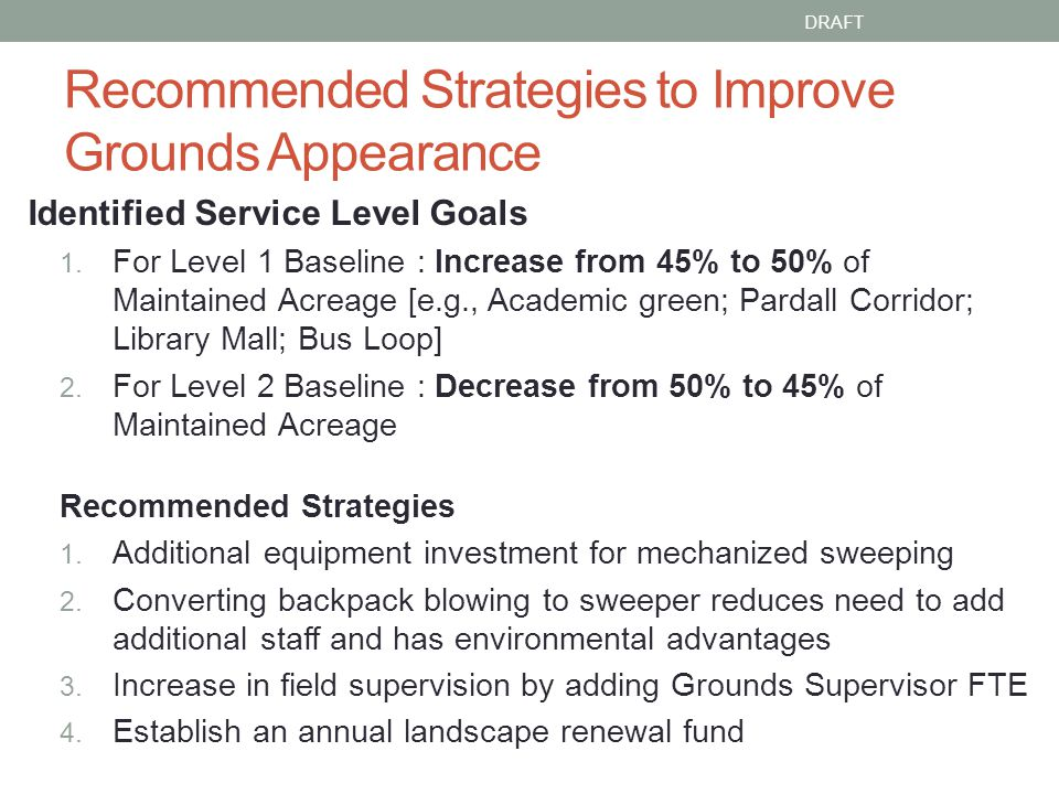 Recommended Strategies to Improve Grounds Appearance Identified Service Level Goals 1.