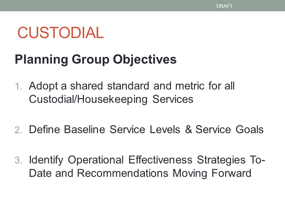 CUSTODIAL Planning Group Objectives 1.