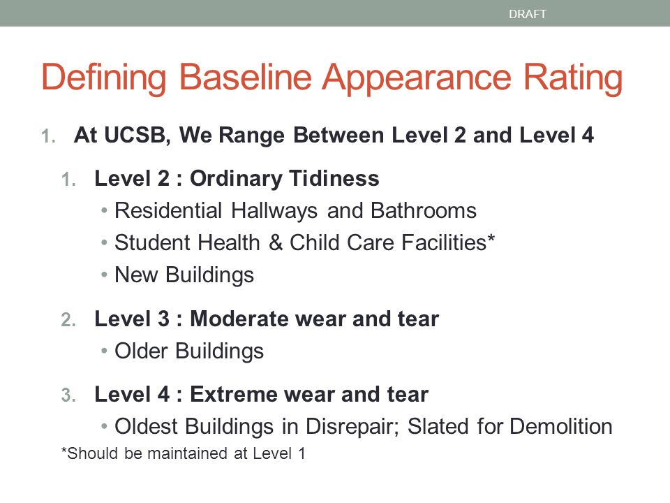 Defining Baseline Appearance Rating 1. At UCSB, We Range Between Level 2 and Level 4 1.