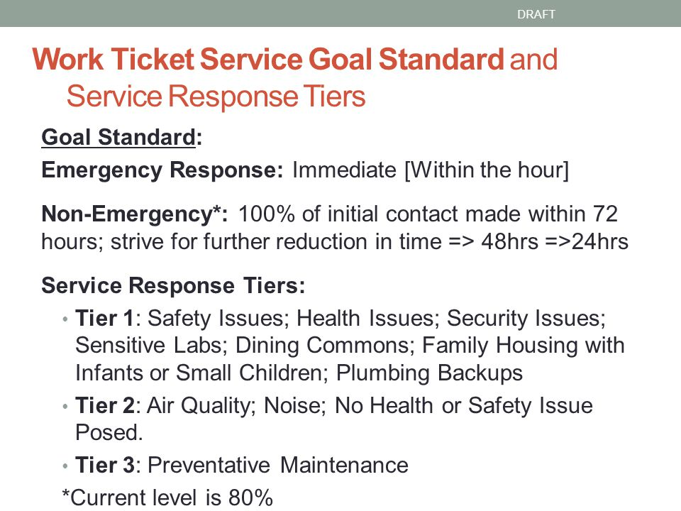 Work Ticket Service Goal Standard and Service Response Tiers Goal Standard: Emergency Response: Immediate [Within the hour] Non-Emergency*: 100% of initial contact made within 72 hours; strive for further reduction in time => 48hrs =>24hrs Service Response Tiers: Tier 1: Safety Issues; Health Issues; Security Issues; Sensitive Labs; Dining Commons; Family Housing with Infants or Small Children; Plumbing Backups Tier 2: Air Quality; Noise; No Health or Safety Issue Posed.