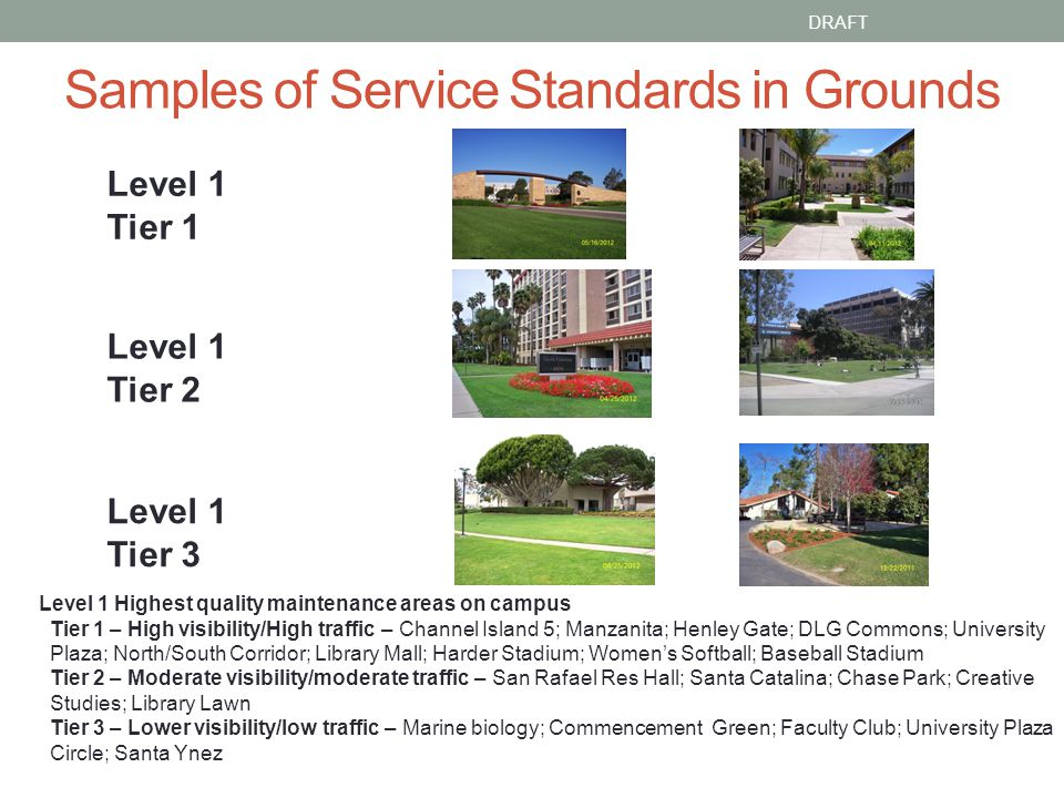 Samples of Service Standards in Grounds DRAFT Level 1 Tier 1 Level 1 Tier 2 Level 1 Tier 3 Level 1 Highest quality maintenance areas on campus Tier 1 – High visibility/High traffic – Channel Island 5; Manzanita; Henley Gate; DLG Commons; University Plaza; North/South Corridor; Library Mall; Harder Stadium; Womens Softball; Baseball Stadium Tier 2 – Moderate visibility/moderate traffic – San Rafael Res Hall; Santa Catalina; Chase Park; Creative Studies; Library Lawn Tier 3 – Lower visibility/low traffic – Marine biology; Commencement Green; Faculty Club; University Plaza Circle; Santa Ynez