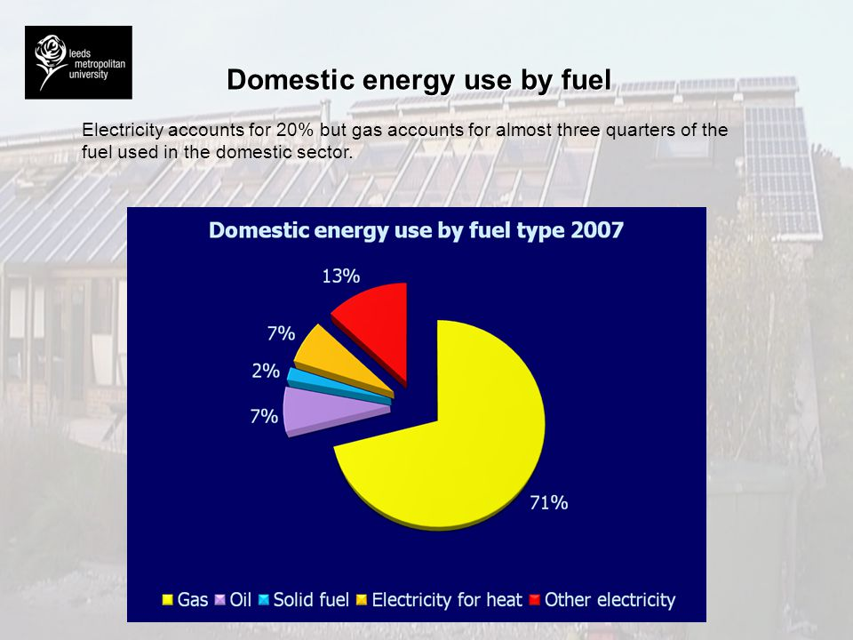 Domestic energy use by fuel Electricity accounts for 20% but gas accounts for almost three quarters of the fuel used in the domestic sector.
