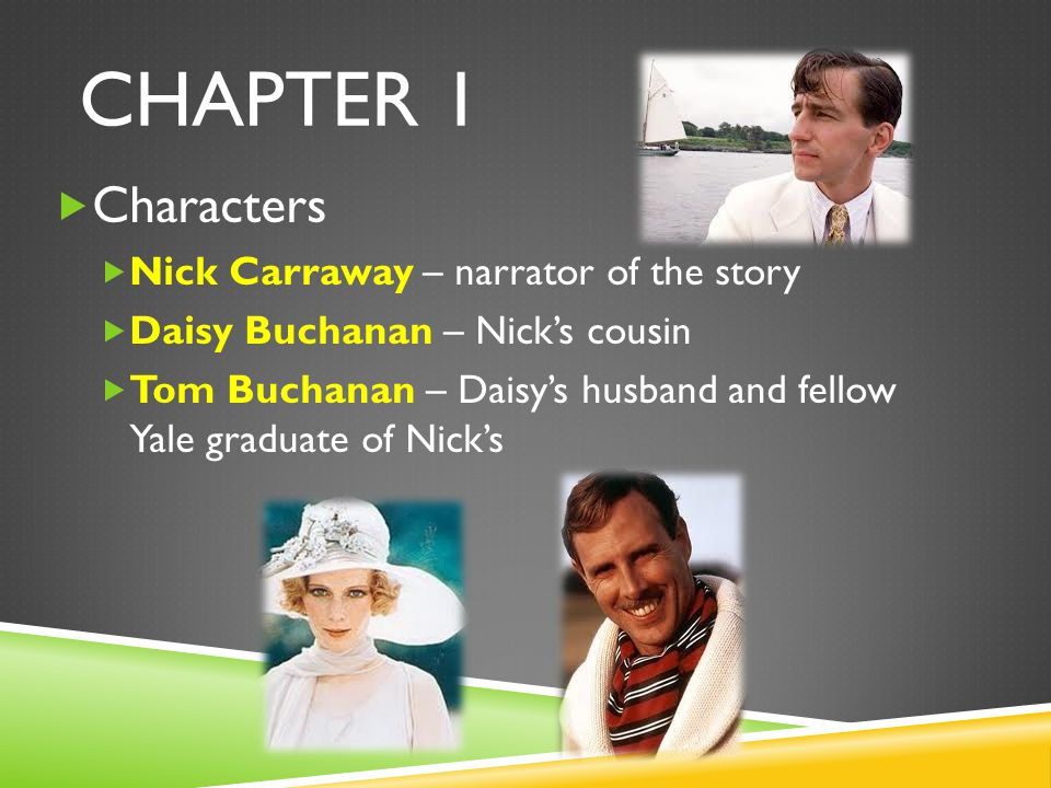 CHAPTER 1 Characters Nick Carraway – narrator of the story Daisy Buchanan – Nicks cousin Tom Buchanan – Daisys husband and fellow Yale graduate of Nic