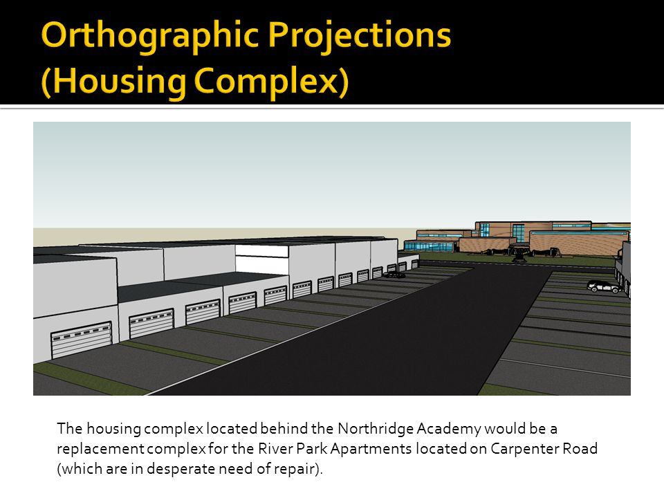 The housing complex located behind the Northridge Academy would be a replacement complex for the River Park Apartments located on Carpenter Road (which are in desperate need of repair).