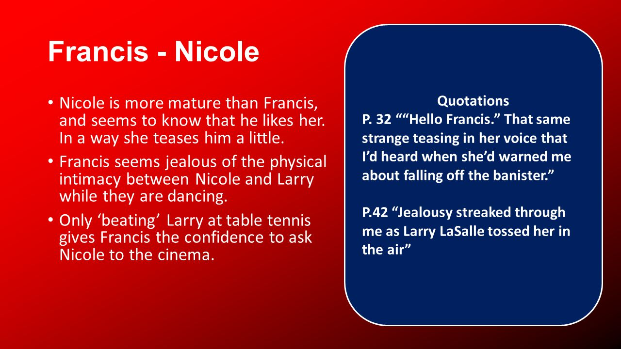 Francis - Nicole Nicole is more mature than Francis, and seems to know that he likes her.