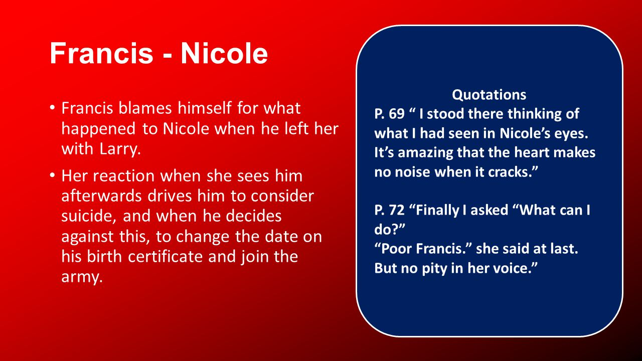Francis - Nicole Francis blames himself for what happened to Nicole when he left her with Larry.