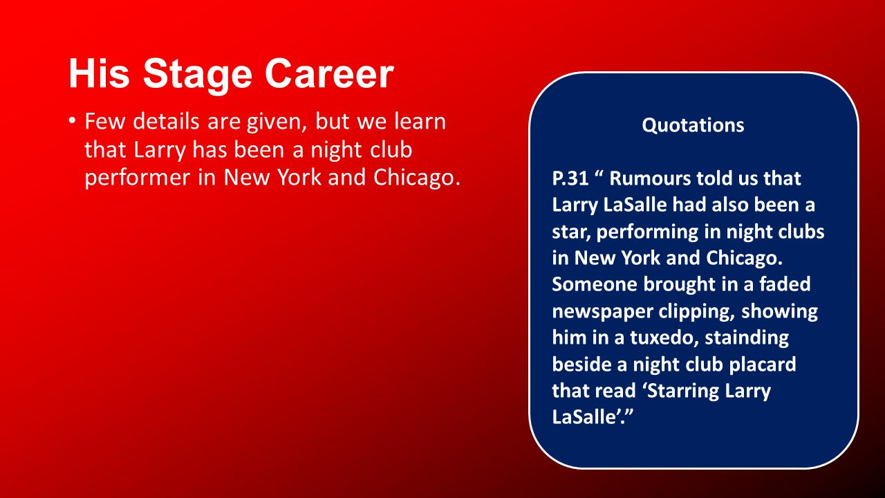 His Stage Career Few details are given, but we learn that Larry has been a night club performer in New York and Chicago.