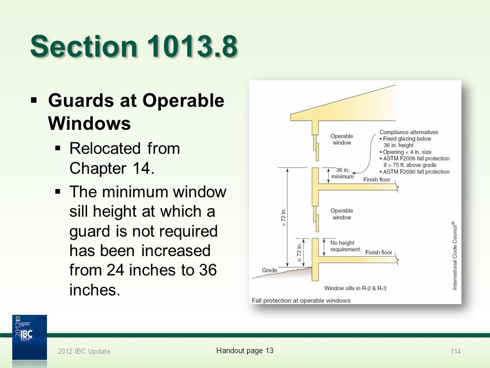 Section 1013.8 Guards at Operable Windows Relocated from Chapter 14. The minimum window sill height at which a guard is not required has been increase