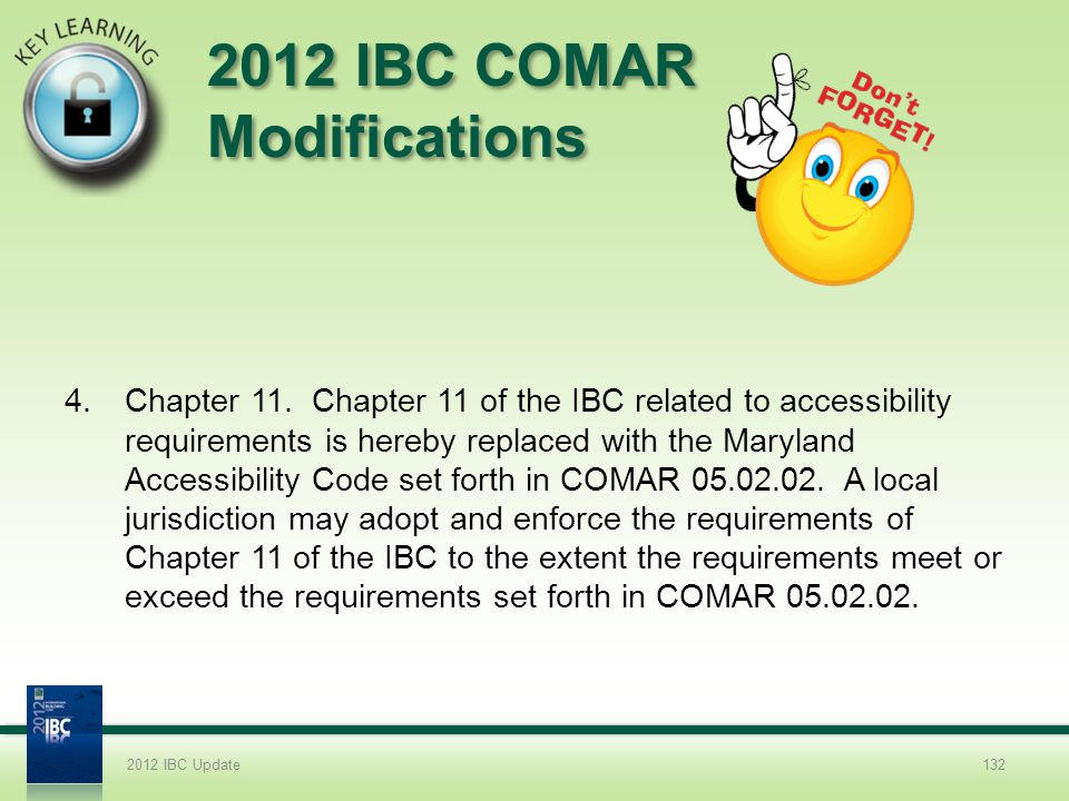 2012 IBC COMAR Modifications 4.Chapter 11. Chapter 11 of the IBC related to accessibility requirements is hereby replaced with the Maryland Accessibil