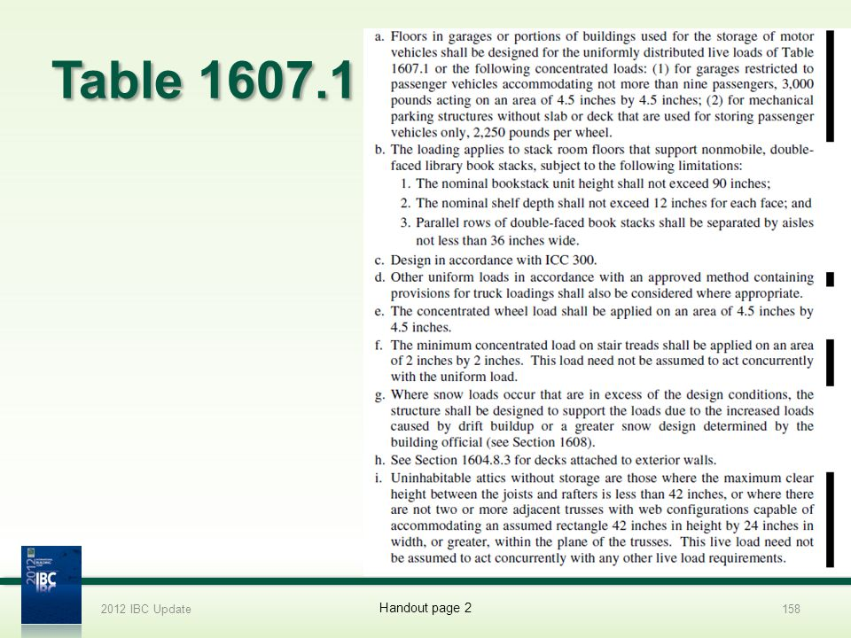 Table 1607.1 2012 IBC Update158 Handout page 2
