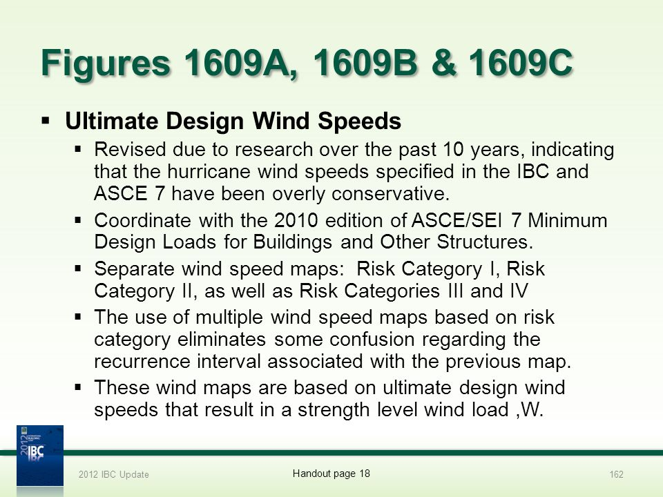 Figures 1609A, 1609B & 1609C Ultimate Design Wind Speeds Revised due to research over the past 10 years, indicating that the hurricane wind speeds spe
