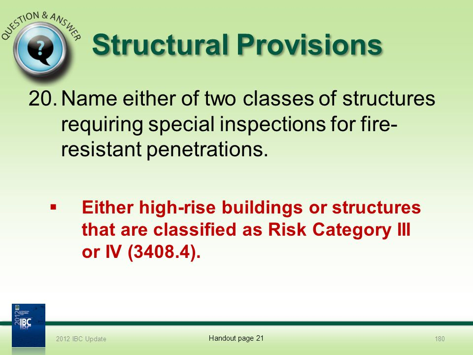 Structural Provisions 20.Name either of two classes of structures requiring special inspections for fire- resistant penetrations. Either high-rise bui