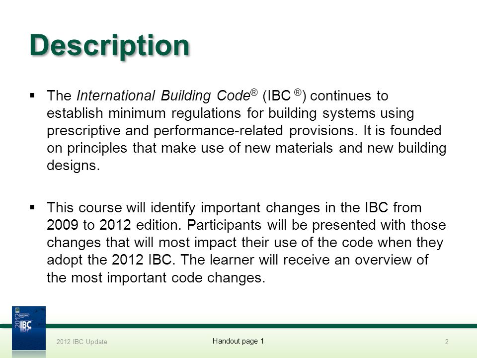 Table 2308.12.4 2012 IBC Update173 Handout page 20