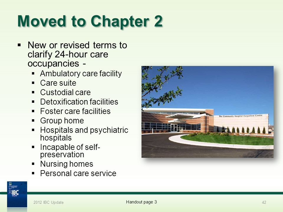 Moved to Chapter 2 New or revised terms to clarify 24-hour care occupancies - Ambulatory care facility Care suite Custodial care Detoxification facili