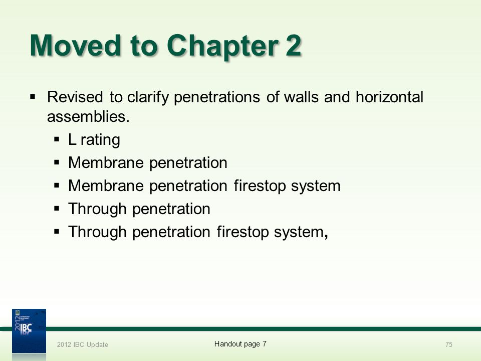 Moved to Chapter 2 Revised to clarify penetrations of walls and horizontal assemblies. L rating Membrane penetration Membrane penetration firestop sys