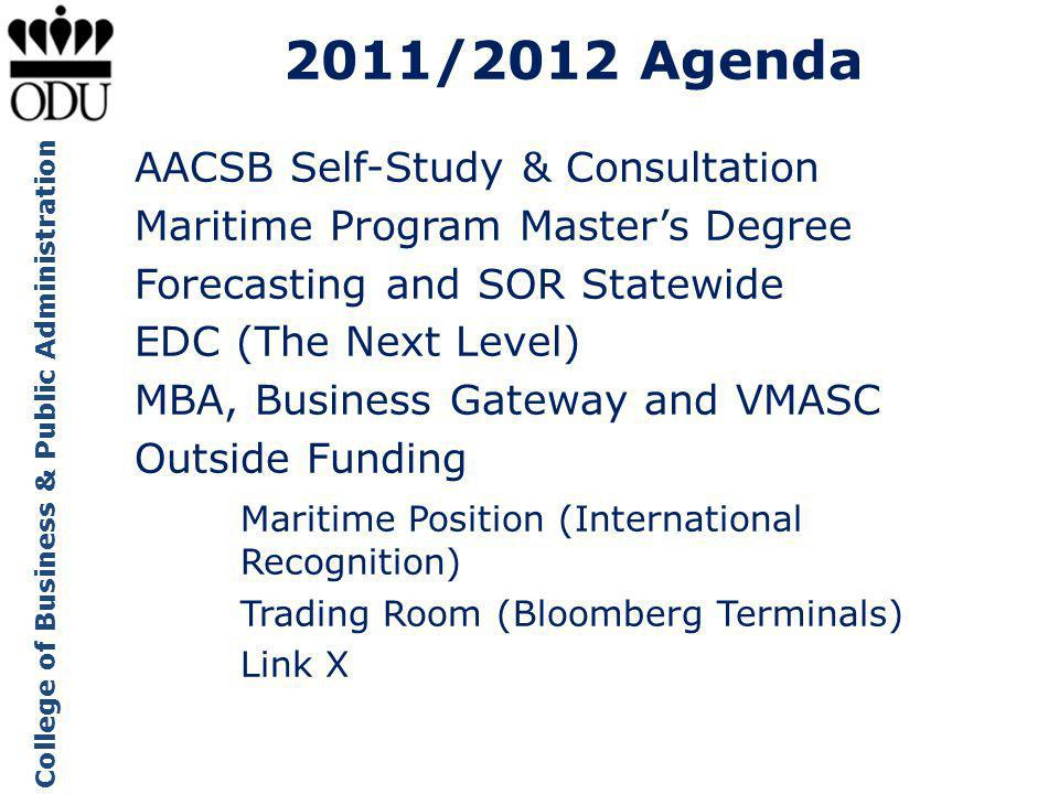 College of Business & Public Administration 2011/2012 Agenda AACSB Self-Study & Consultation Maritime Program Masters Degree Forecasting and SOR Statewide EDC (The Next Level) MBA, Business Gateway and VMASC Outside Funding Maritime Position (International Recognition) Trading Room (Bloomberg Terminals) Link X
