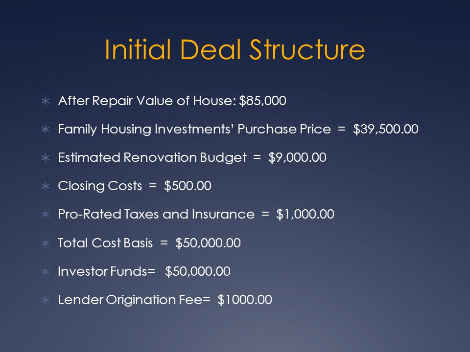Initial Deal Structure After Repair Value of House: $85,000 Family Housing Investments Purchase Price = $39, Estimated Renovation Budget = $9, Closing Costs = $ Pro-Rated Taxes and Insurance = $1, Total Cost Basis = $50, Investor Funds= $50, Lender Origination Fee= $