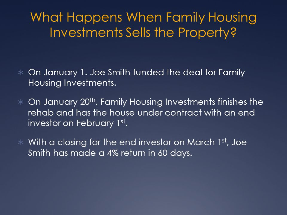What Happens When Family Housing Investments Sells the Property.