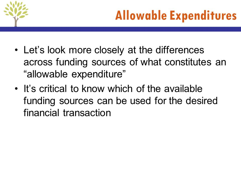 Allowable Expenditures Lets look more closely at the differences across funding sources of what constitutes an allowable expenditure Its critical to k
