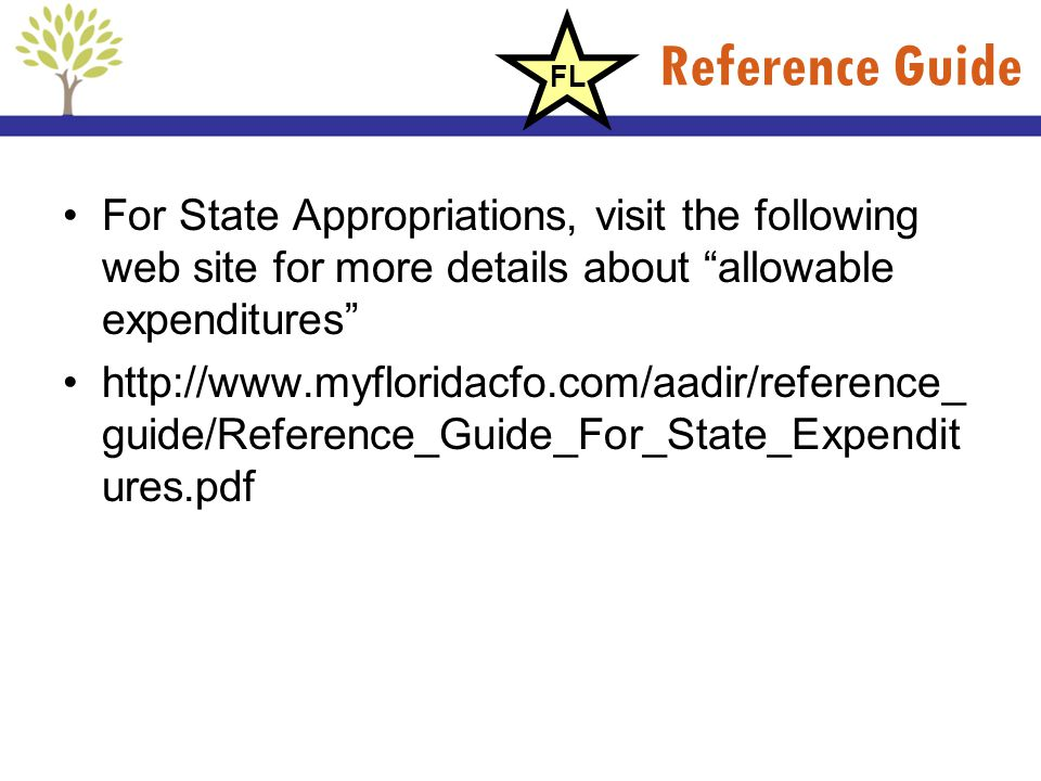 Reference Guide For State Appropriations, visit the following web site for more details about allowable expenditures http://www.myfloridacfo.com/aadir
