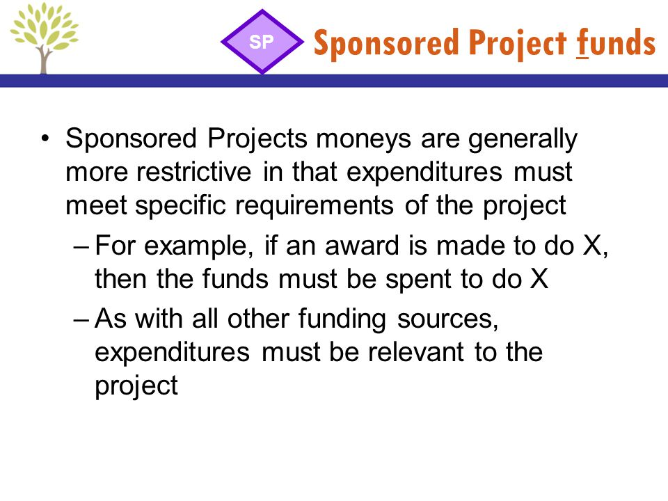 Sponsored Project funds Sponsored Projects moneys are generally more restrictive in that expenditures must meet specific requirements of the project –